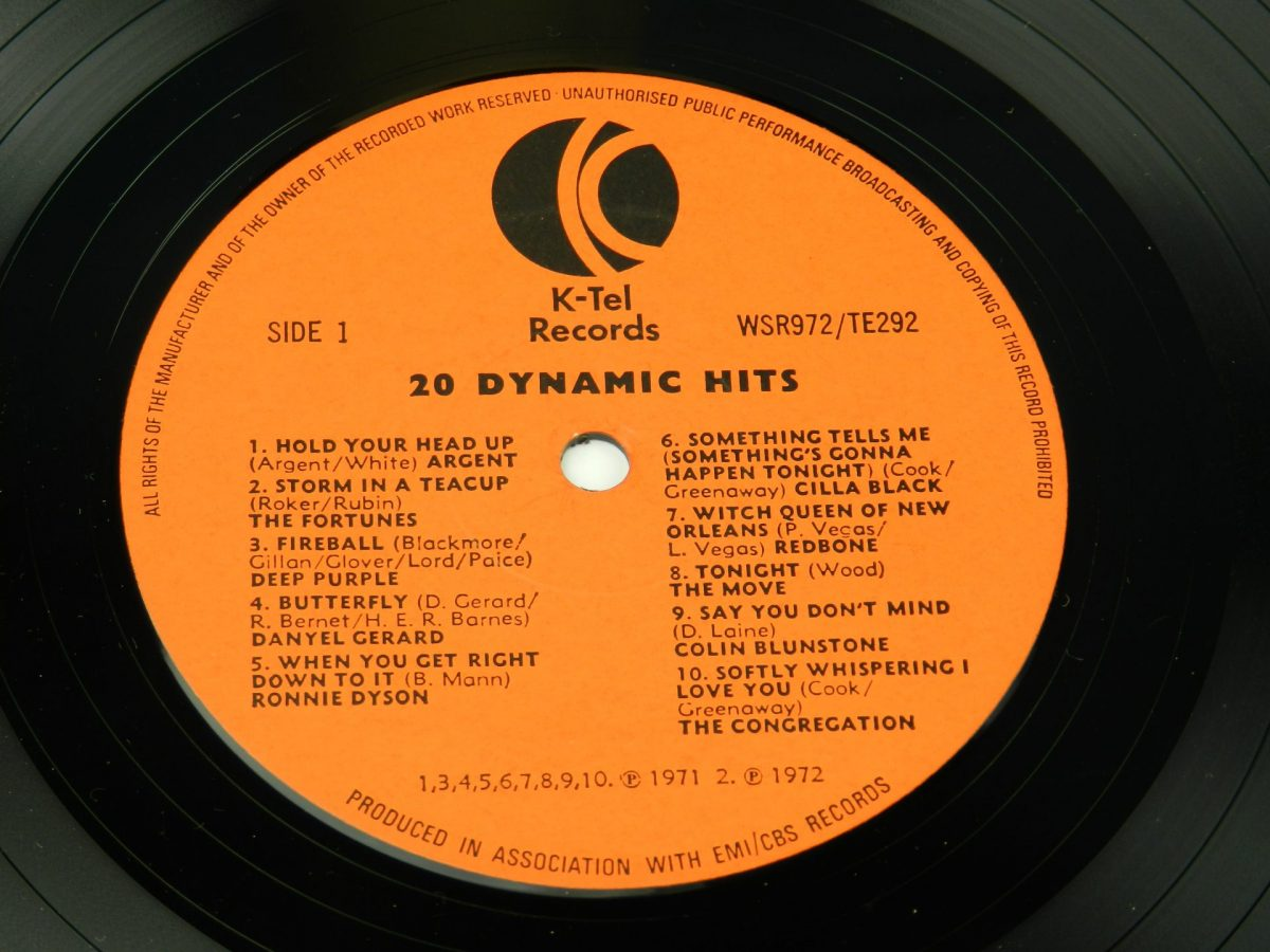 Various – 20 Dynamic Hits vinyl record side A label