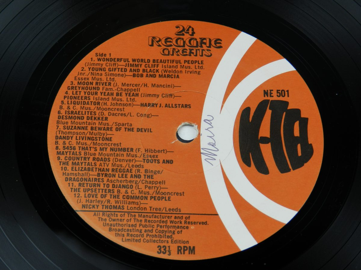 Various – 24 Reggae Greats vinyl record side A label scaled