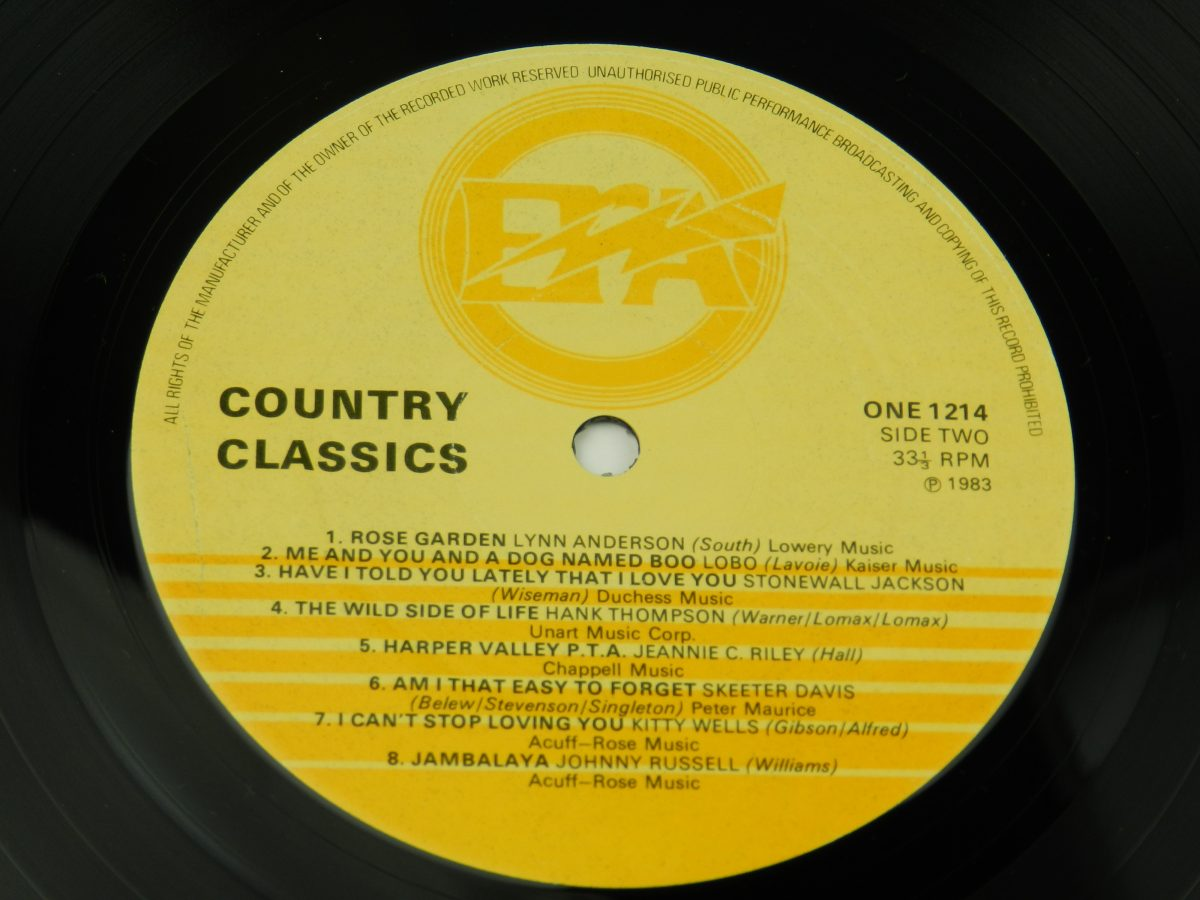 Various – Country Classics vinyl record side B label scaled