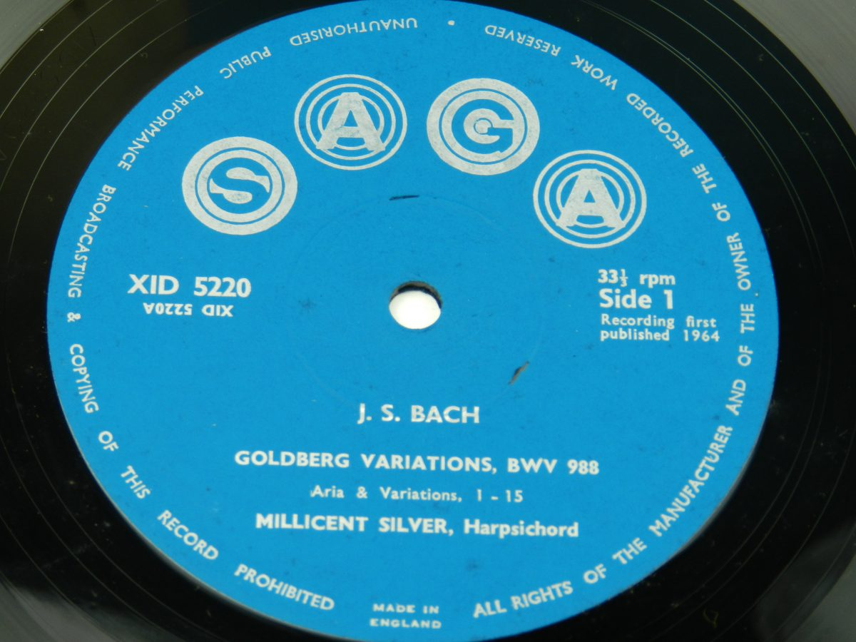 Bach Millicent Silver – The Goldberg Variations vinyl record side A label scaled