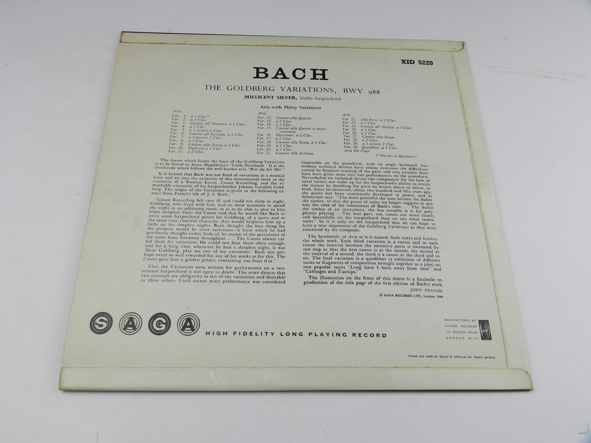 Bach Millicent Silver – The Goldberg Variations vinyl record sleeve rear scaled