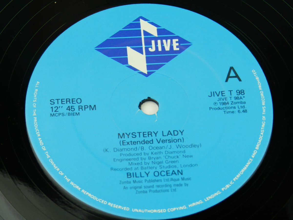 Billy Ocean – When The Going Gets Tough The Tough Get Going Mystery Lady vinyl record 1 side A label scaled