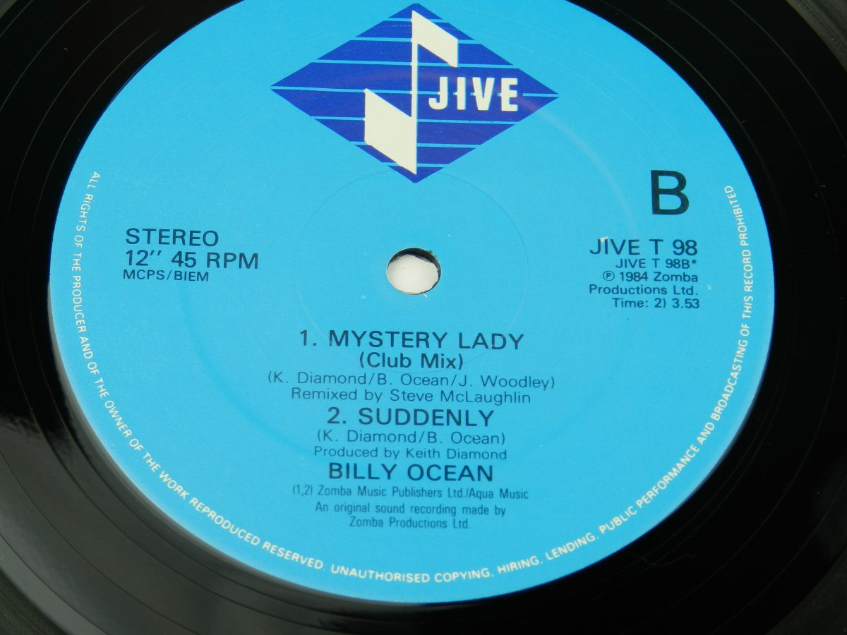 Billy Ocean – When The Going Gets Tough The Tough Get Going Mystery Lady vinyl record 1 side B label scaled