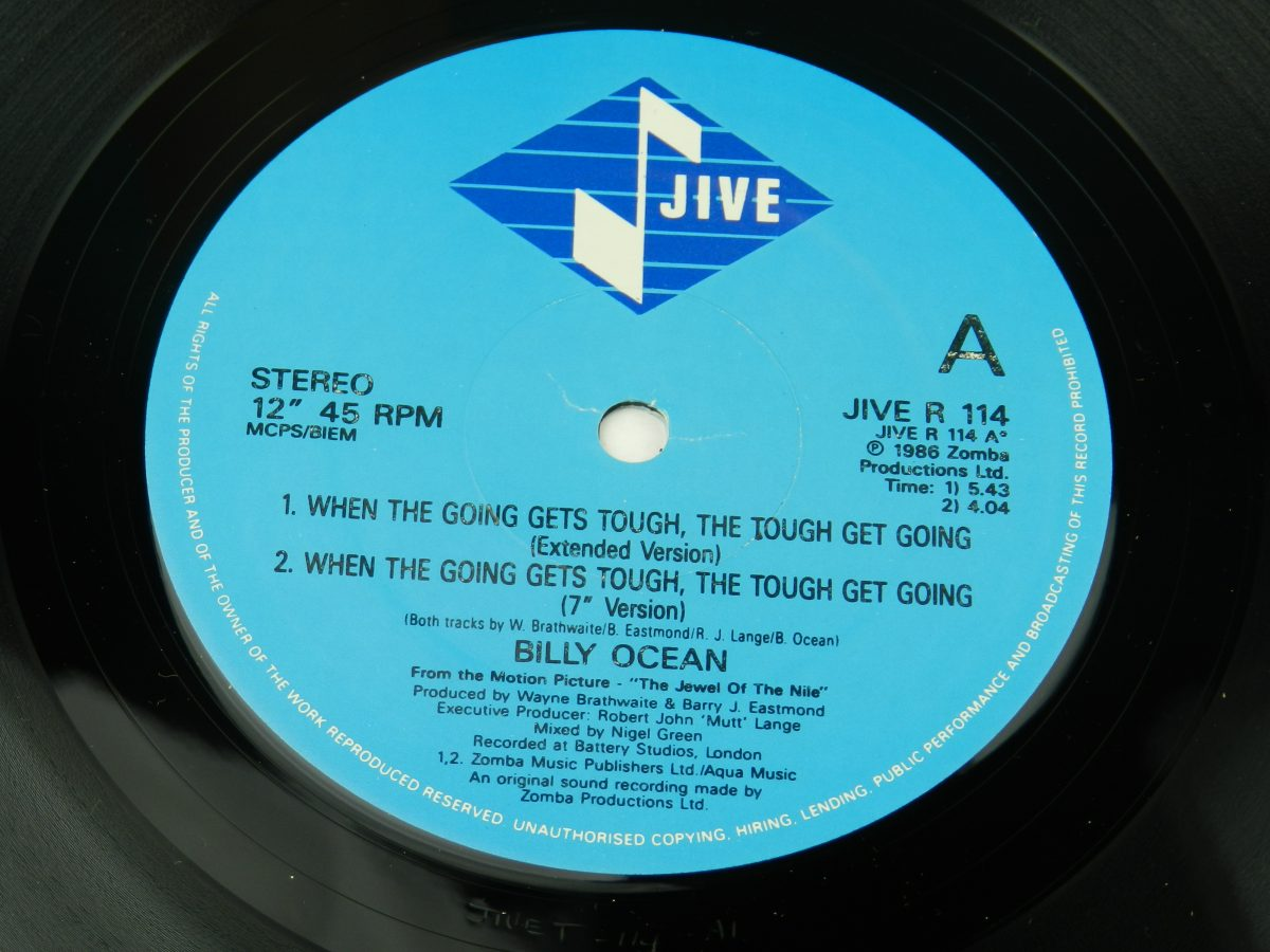 Billy Ocean – When The Going Gets Tough The Tough Get Going Mystery Lady vinyl record 2 side A label scaled