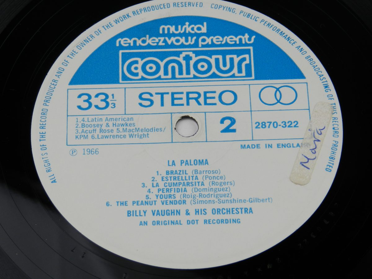 Billy Vaughn And His Orchestra – La Paloma vinyl record side B label scaled