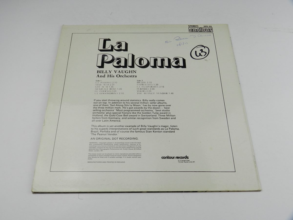 Billy Vaughn And His Orchestra – La Paloma vinyl record sleeve rear scaled