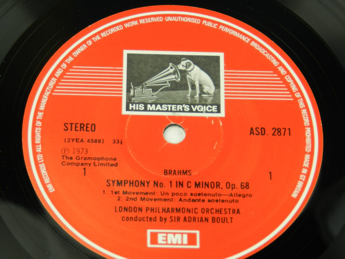 Brahms Sir Adrian Boult The London Philharmonic Orchestra – Symphony No. 1 C Minor Op. 68 vinyl record side A label scaled