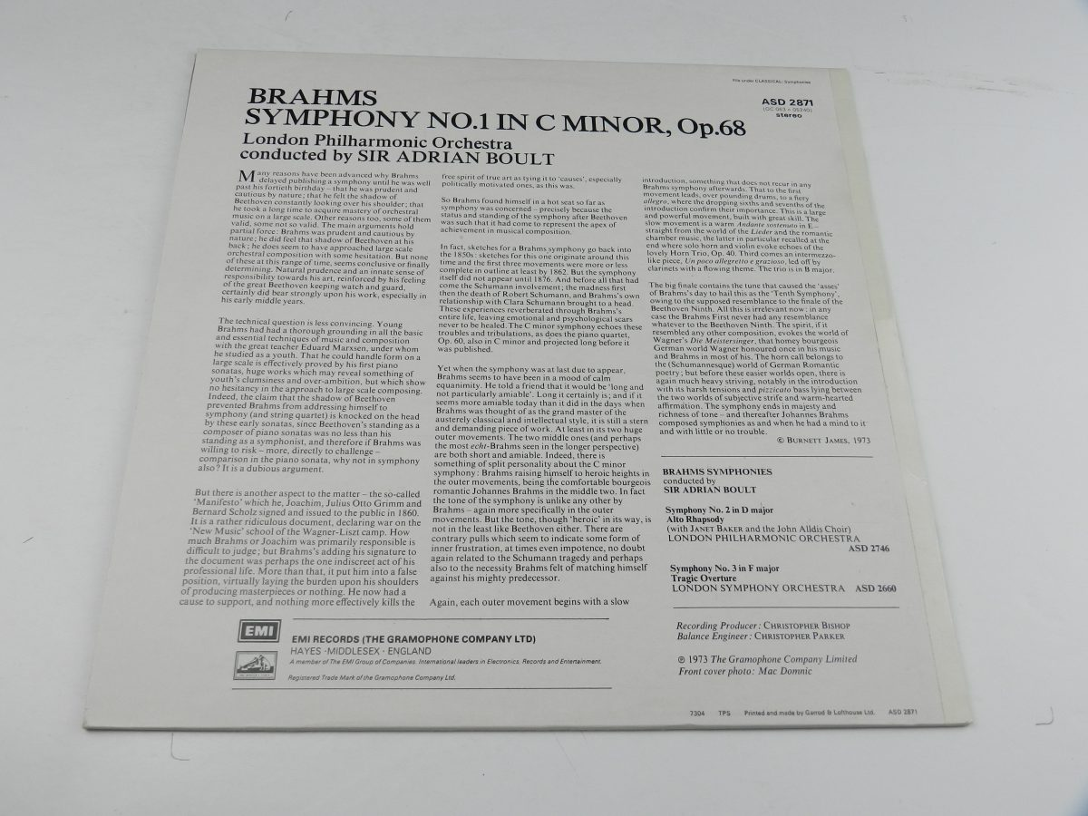 Brahms Sir Adrian Boult The London Philharmonic Orchestra – Symphony No. 1 C Minor Op. 68 vinyl record sleeve rear scaled
