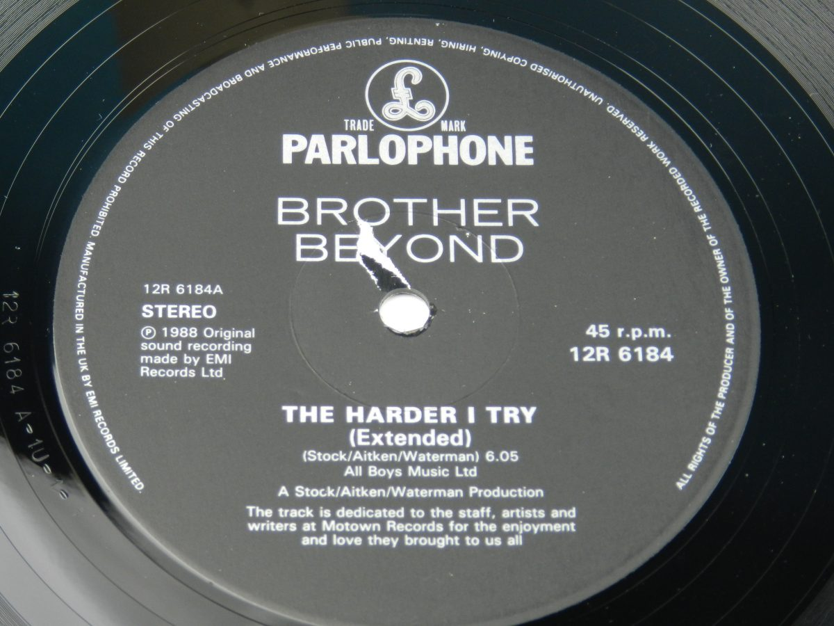 Brother Beyond – The Harder I Try vinyl record side A label scaled