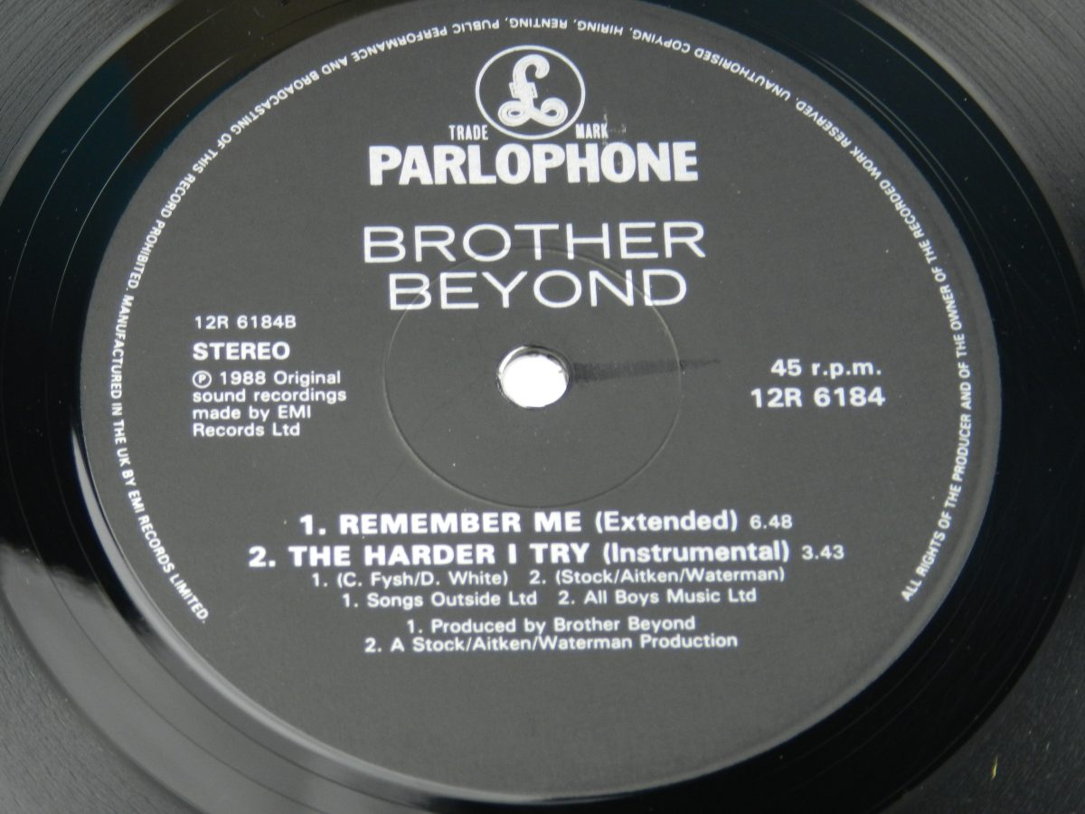 Brother Beyond – The Harder I Try vinyl record side B label scaled