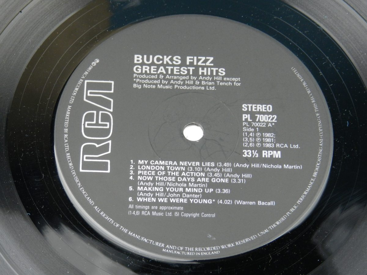 Bucks Fizz – Greatest Hits vinyl record side A label scaled