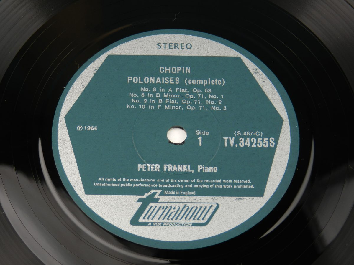 Chopin Peter Frankl – Polonaises Complete Volume 2 vinyl record side A label scaled