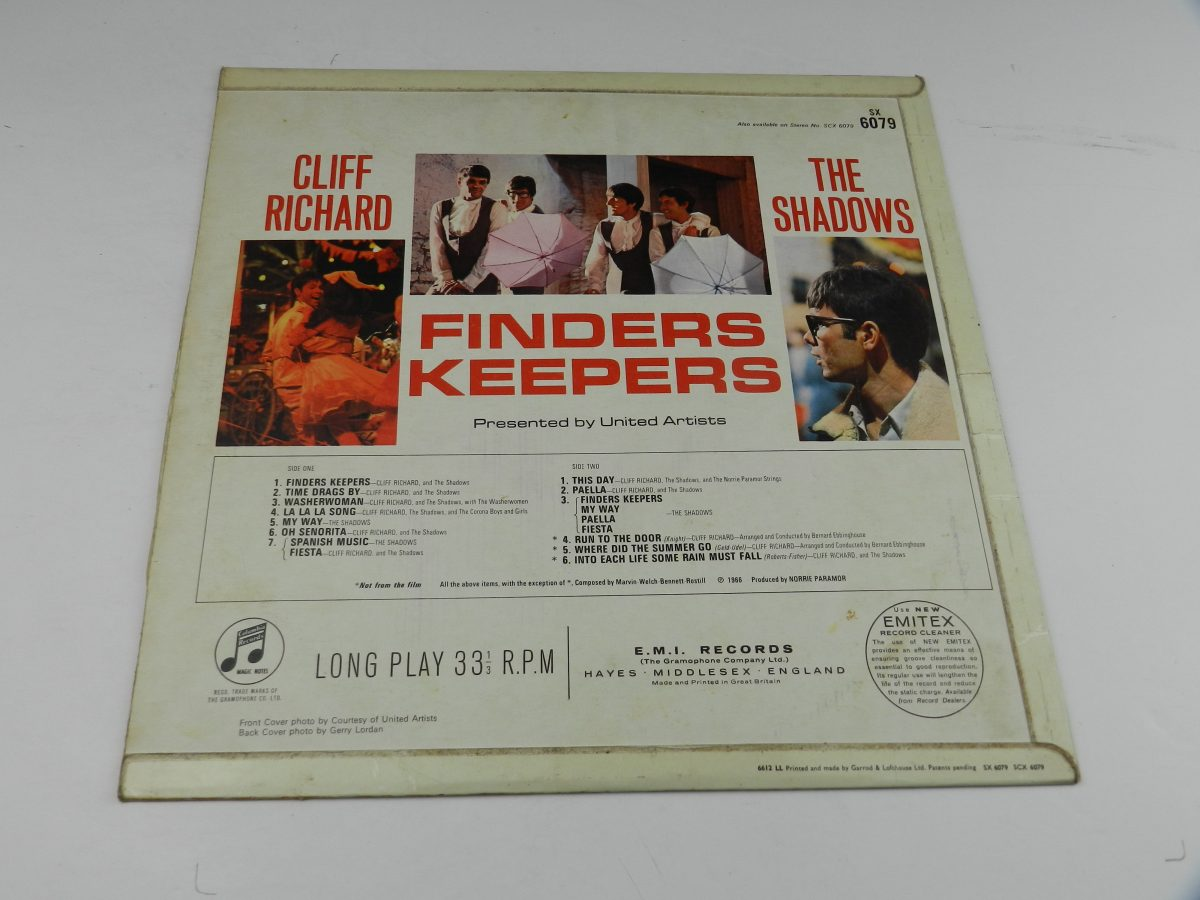 Cliff Richard And The Shadows – Finders Keepers vinyl record sleeve rear scaled