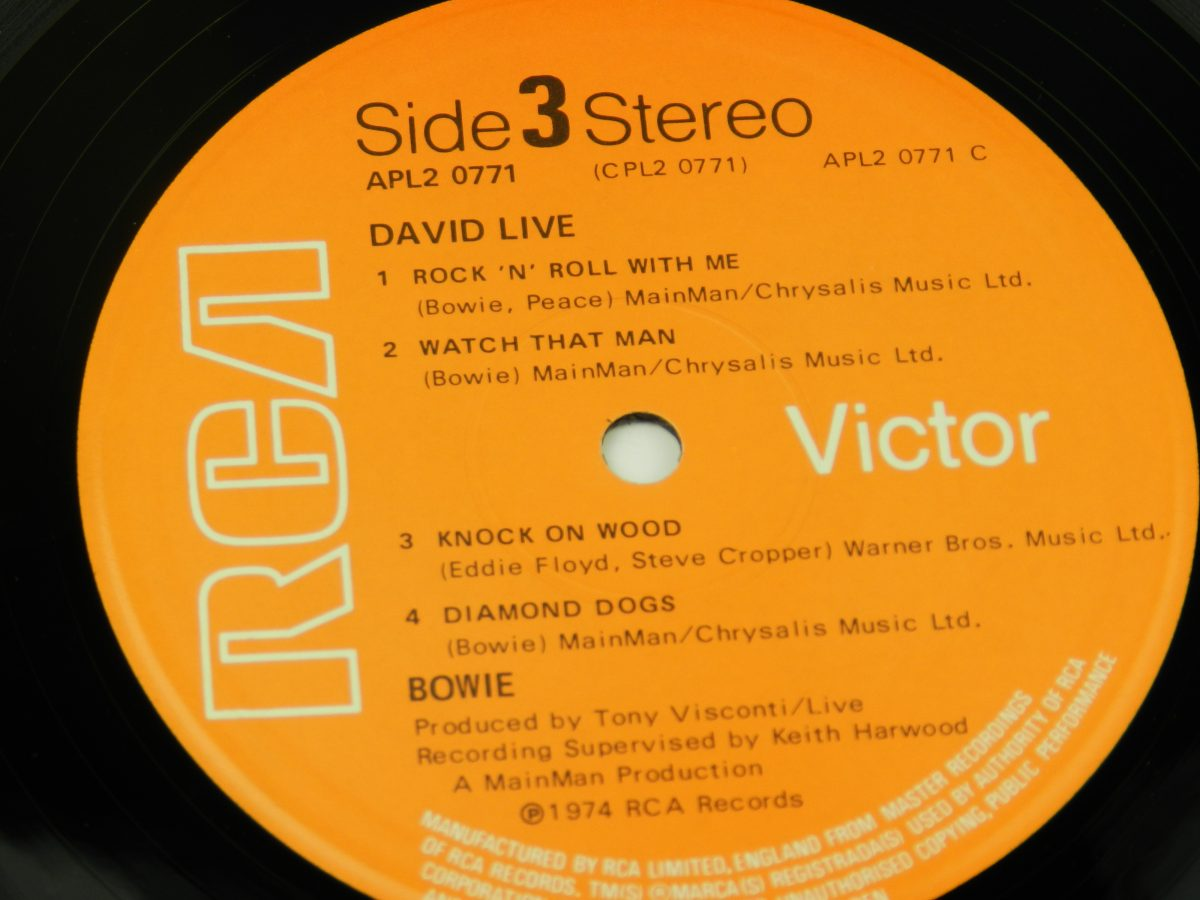 David Bowie – David Live vinyl record 2 side A label scaled