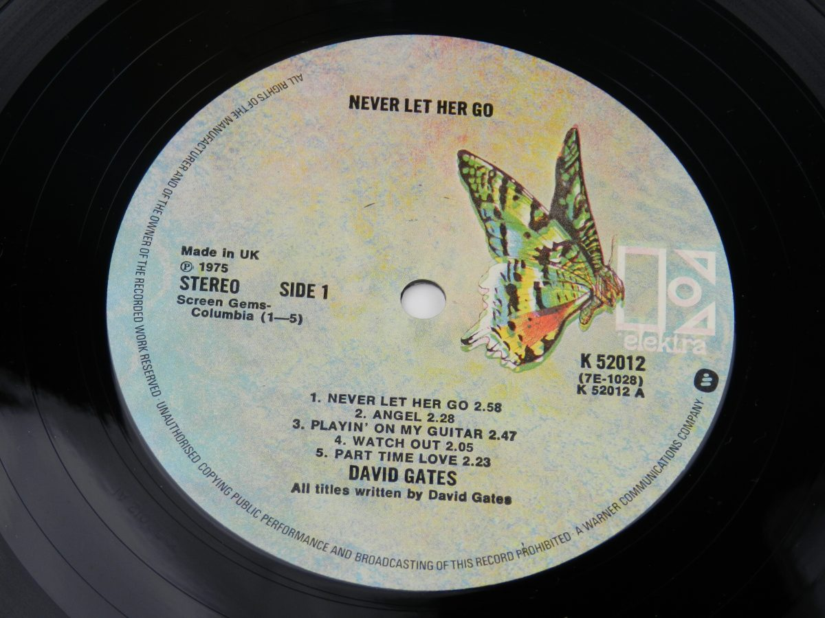 David Gates – Never Let Her Go vinyl record side A label scaled