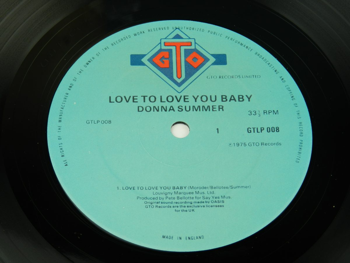 Donna Summer – Love To Love You Baby vinyl record side A label scaled