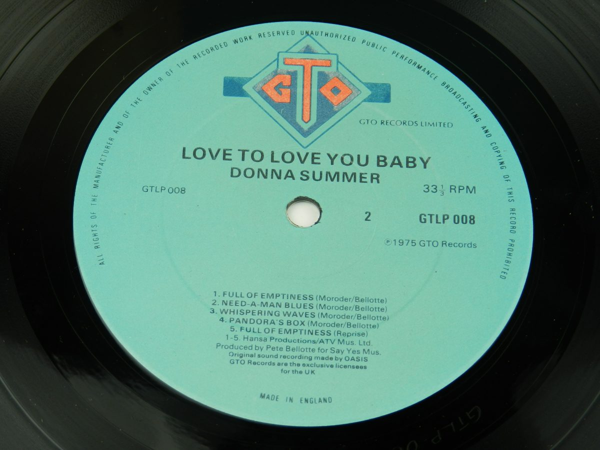 Donna Summer – Love To Love You Baby vinyl record side B label scaled
