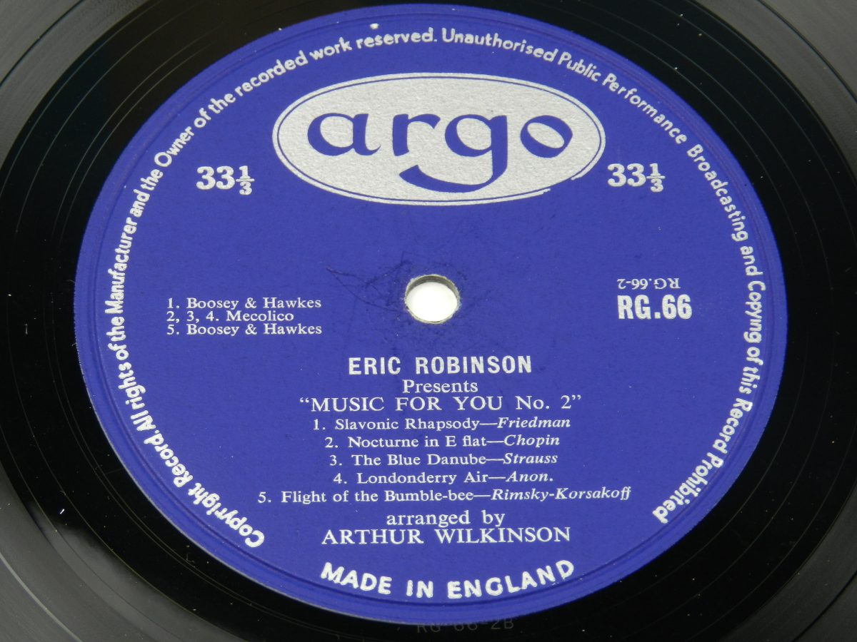 Eric Robinson And His Music For You Orchestra – Music For You vinyl record side B label scaled