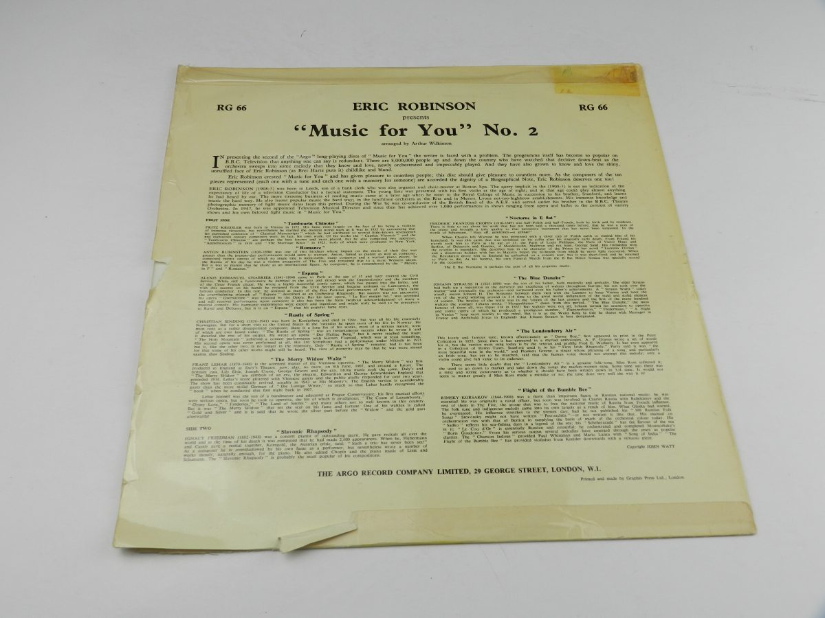 Eric Robinson And His Music For You Orchestra – Music For You vinyl record sleeve rear scaled