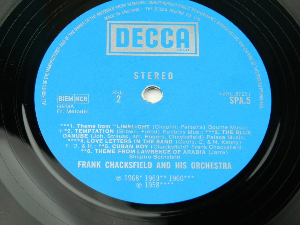 Frank Chacksfield – The World Of Frank Chacksfield vinyl record side B label scaled
