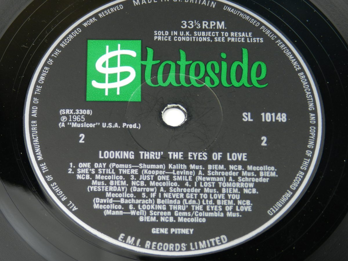 Gene Pitney – Looking Thru The Eyes Of Love vinyl record side B label scaled