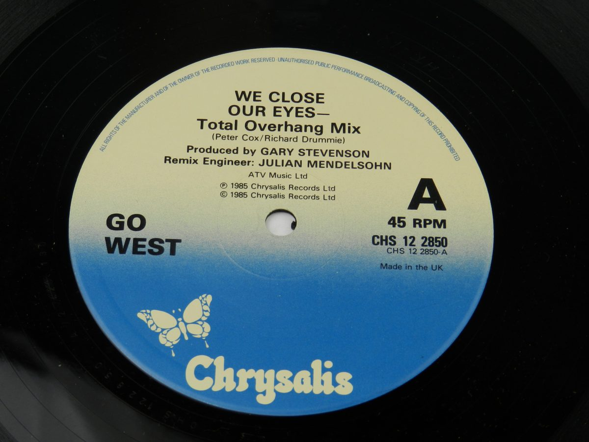 Go West – We Close Our Eyes Total Overhang Mix vinyl record side A label scaled