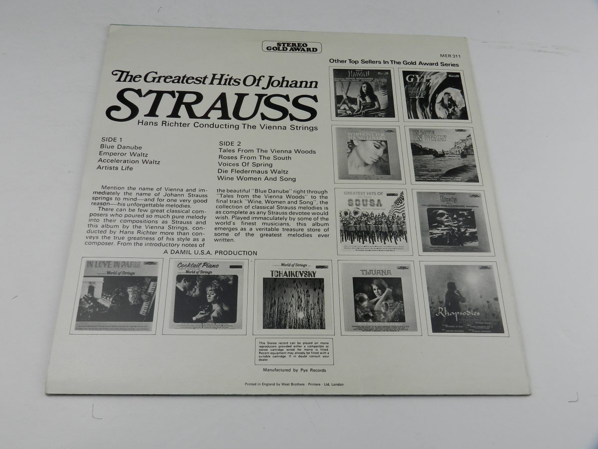 Hans Richter Conducting The Vienna Strings – Greatest Hits Of Johann Strauss vinyl record sleeve rear scaled