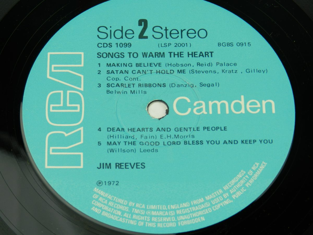 Jim Reeves – Songs To Warm The Heart vinyl record side B label scaled