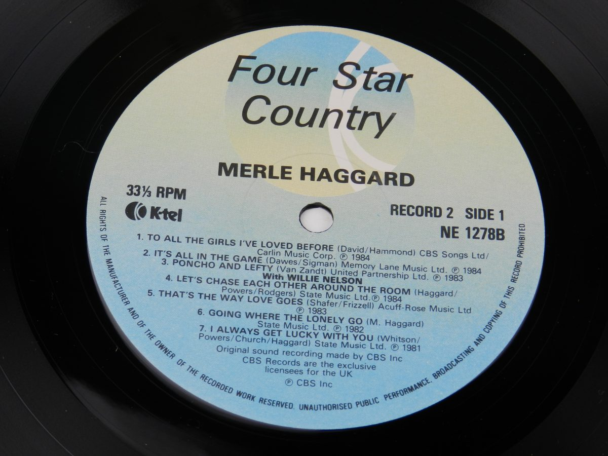Johnny Cash Willie Nelson Merle Haggard Kris Kristofferson – Four Star Country The Very Best Of Four Of Todays Biggest Stars vinyl record 2 side A label scaled