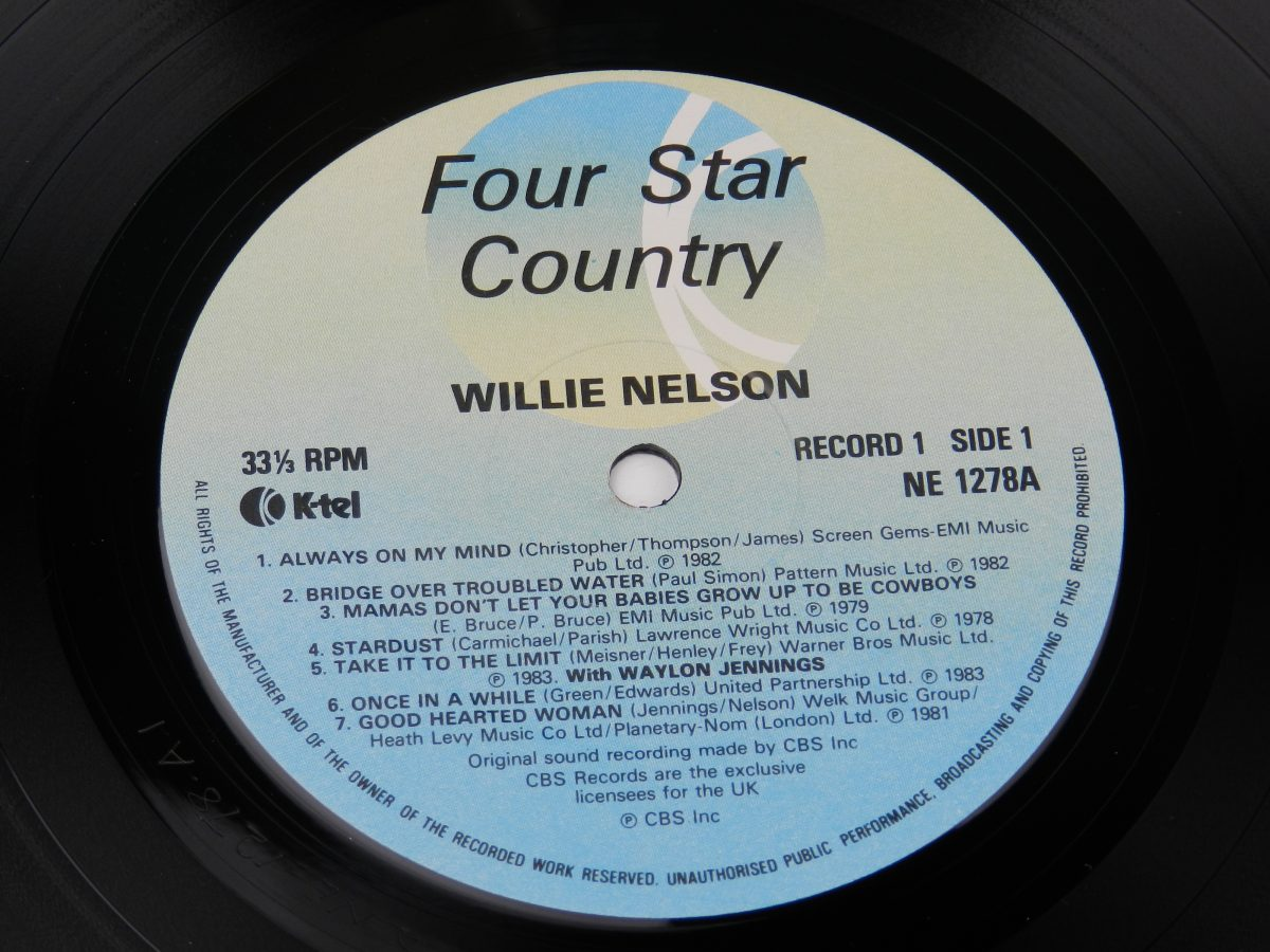 Johnny Cash Willie Nelson Merle Haggard Kris Kristofferson – Four Star Country The Very Best Of Four Of Todays Biggest Stars vinyl record side A label scaled