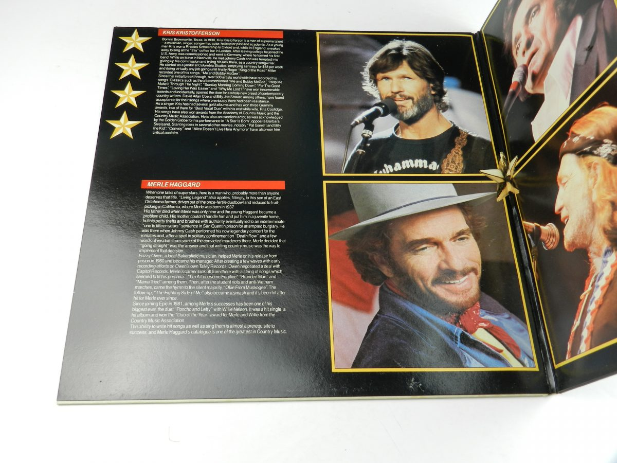 Johnny Cash Willie Nelson Merle Haggard Kris Kristofferson – Four Star Country The Very Best Of Four Of Todays Biggest Stars vinyl record sleeve gatefold 1 scaled