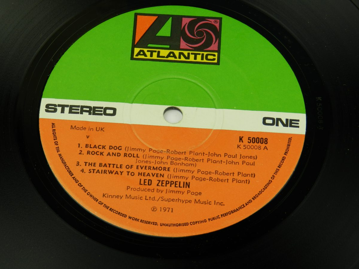 Led Zeppelin – Untitled vinyl record side A label scaled