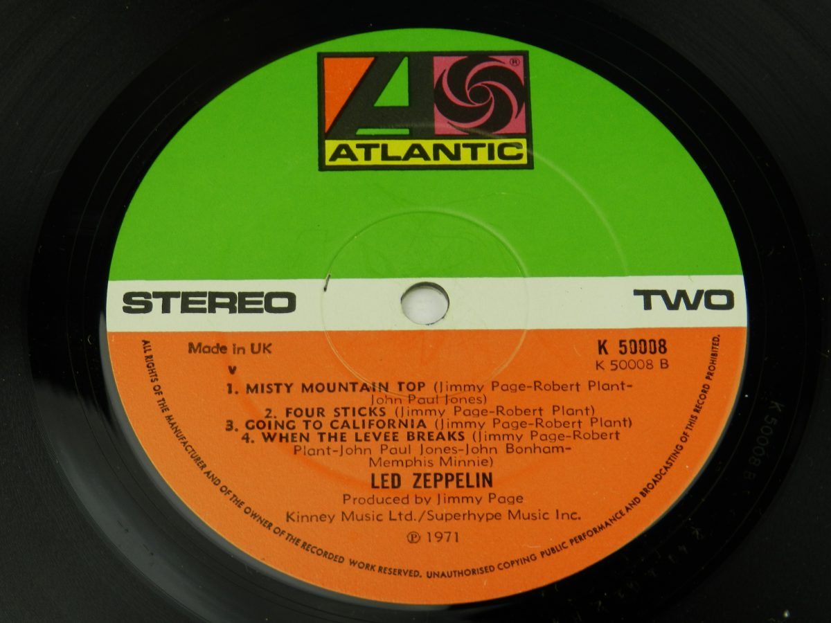 Led Zeppelin – Untitled vinyl record side B label scaled
