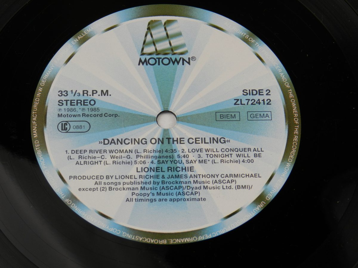 Lionel Richie – Dancing On The Ceiling vinyl record side B label scaled