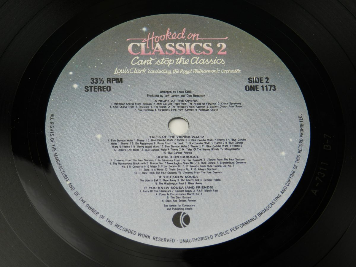 Louis Clark Conducting The Royal Philharmonic Orchestra – Hooked On Classics 2 Cant Stop The Classics vinyl record side B label scaled