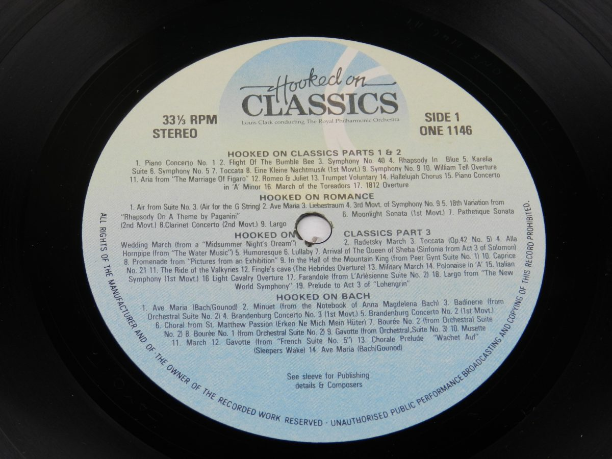 Louis Clark Conducting The Royal Philharmonic Orchestra – Hooked On Classics vinyl record side A label scaled
