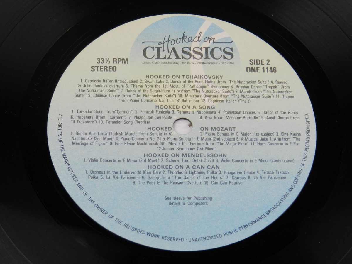 Louis Clark Conducting The Royal Philharmonic Orchestra – Hooked On Classics vinyl record side B label scaled