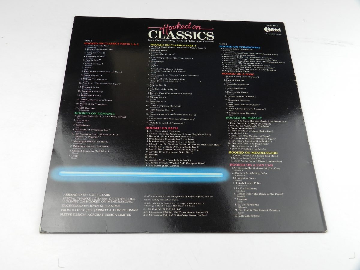 Louis Clark Conducting The Royal Philharmonic Orchestra – Hooked On Classics vinyl record sleeve rear scaled