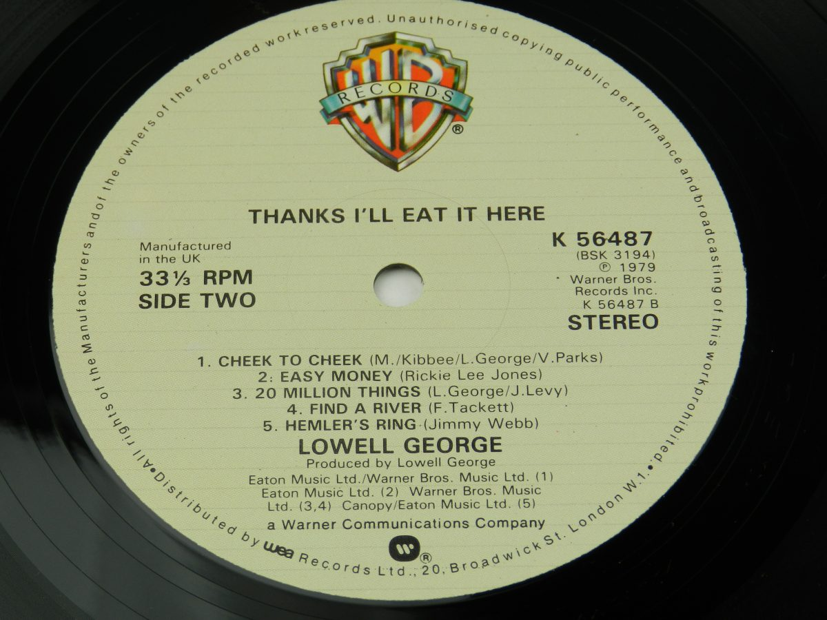 Lowell George – Thanks Ill Eat It Here vinyl record side B label scaled