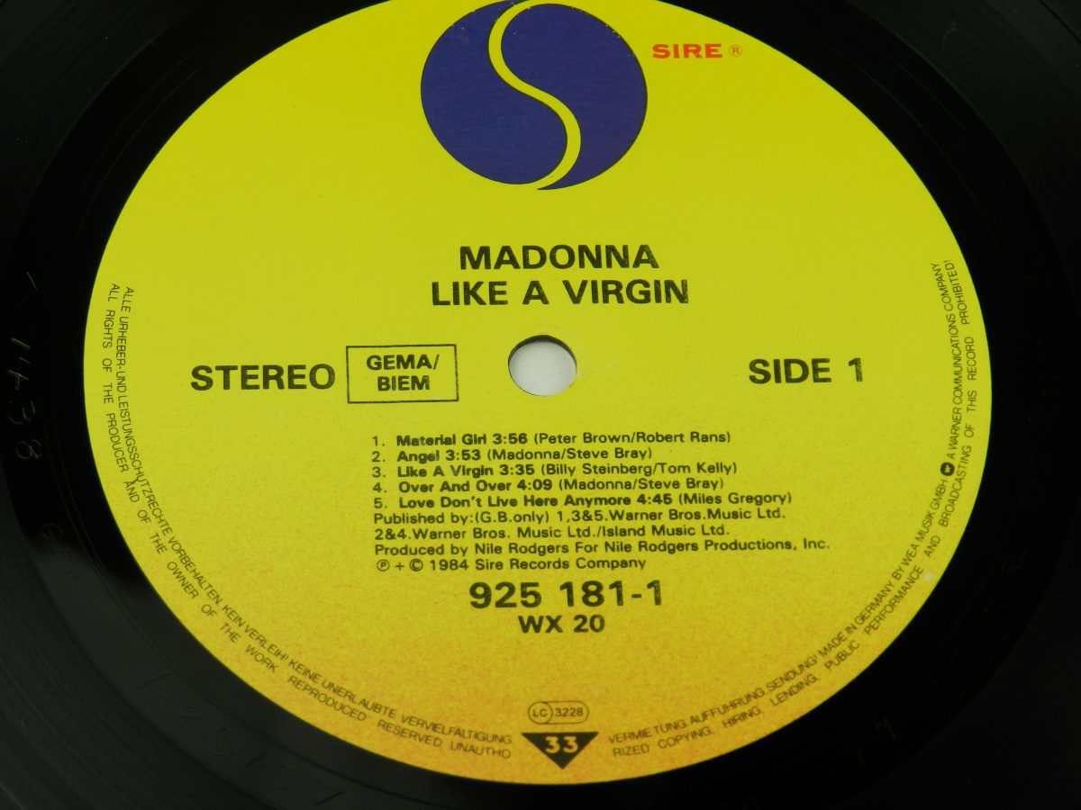 Madonna – Like A Virgin vinyl record side A label scaled
