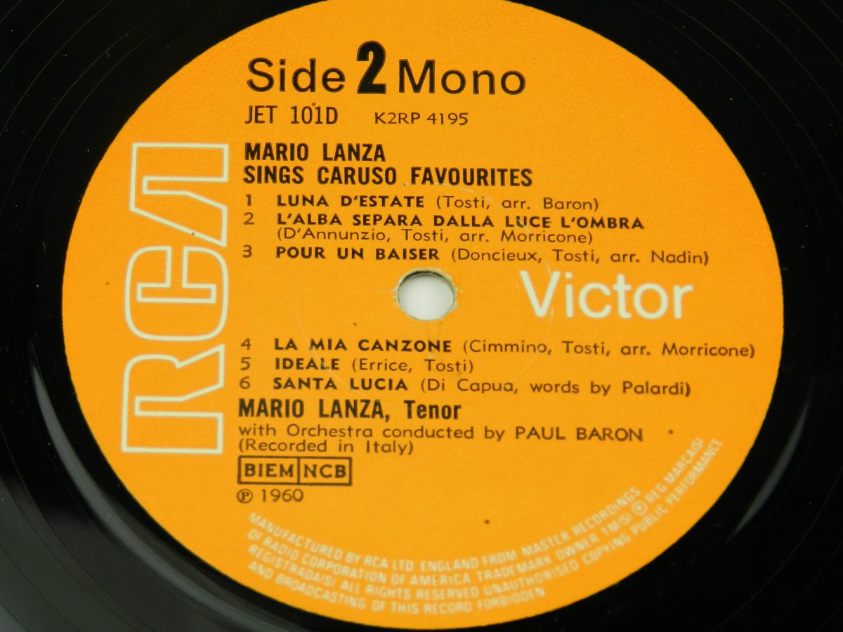 Mario Lanza Enrico Caruso – Mario Lanza Sings Caruso Favourites From The Best Of Caruso vinyl record 1 side B label scaled