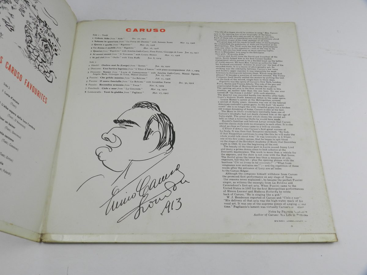 Mario Lanza Enrico Caruso – Mario Lanza Sings Caruso Favourites From The Best Of Caruso vinyl record sleeve gatefold 2 scaled