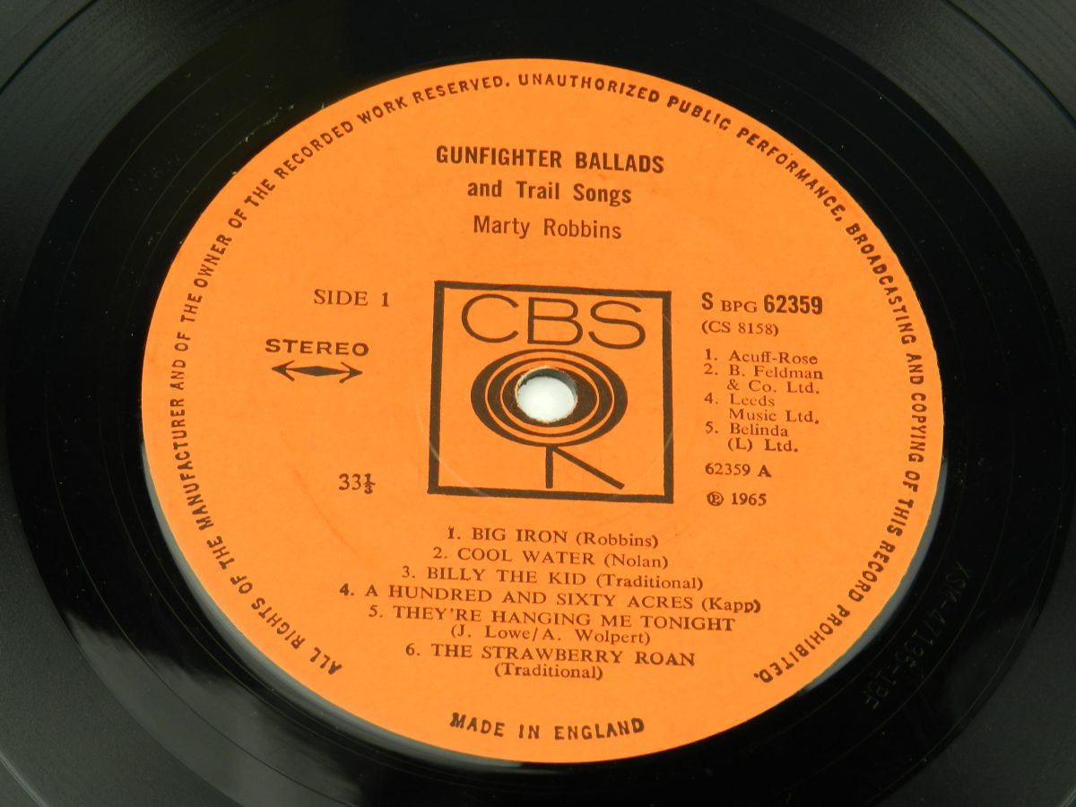 Marty Robbins – Gunfighter Ballads And Trail Songs vinyl record side A label scaled