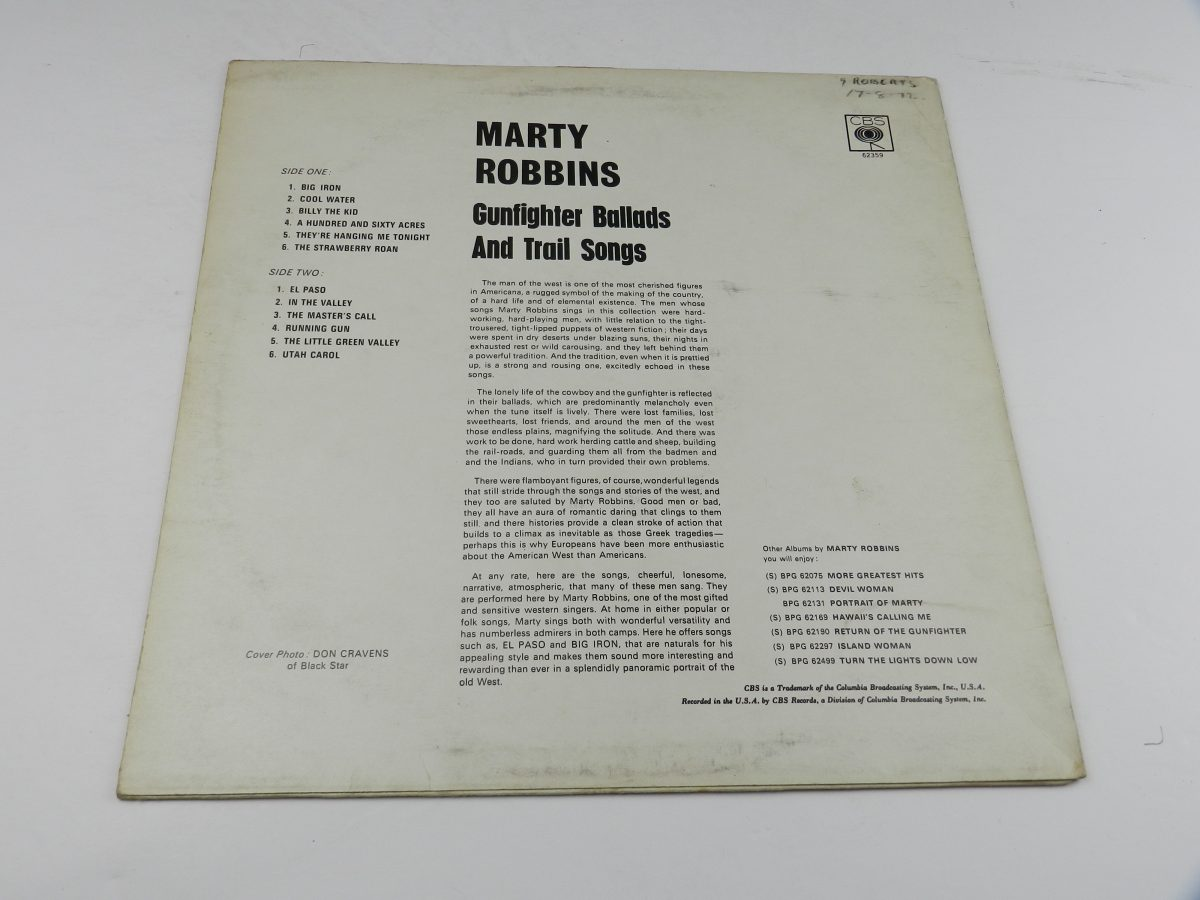 Marty Robbins – Gunfighter Ballads And Trail Songs vinyl record sleeve rear scaled