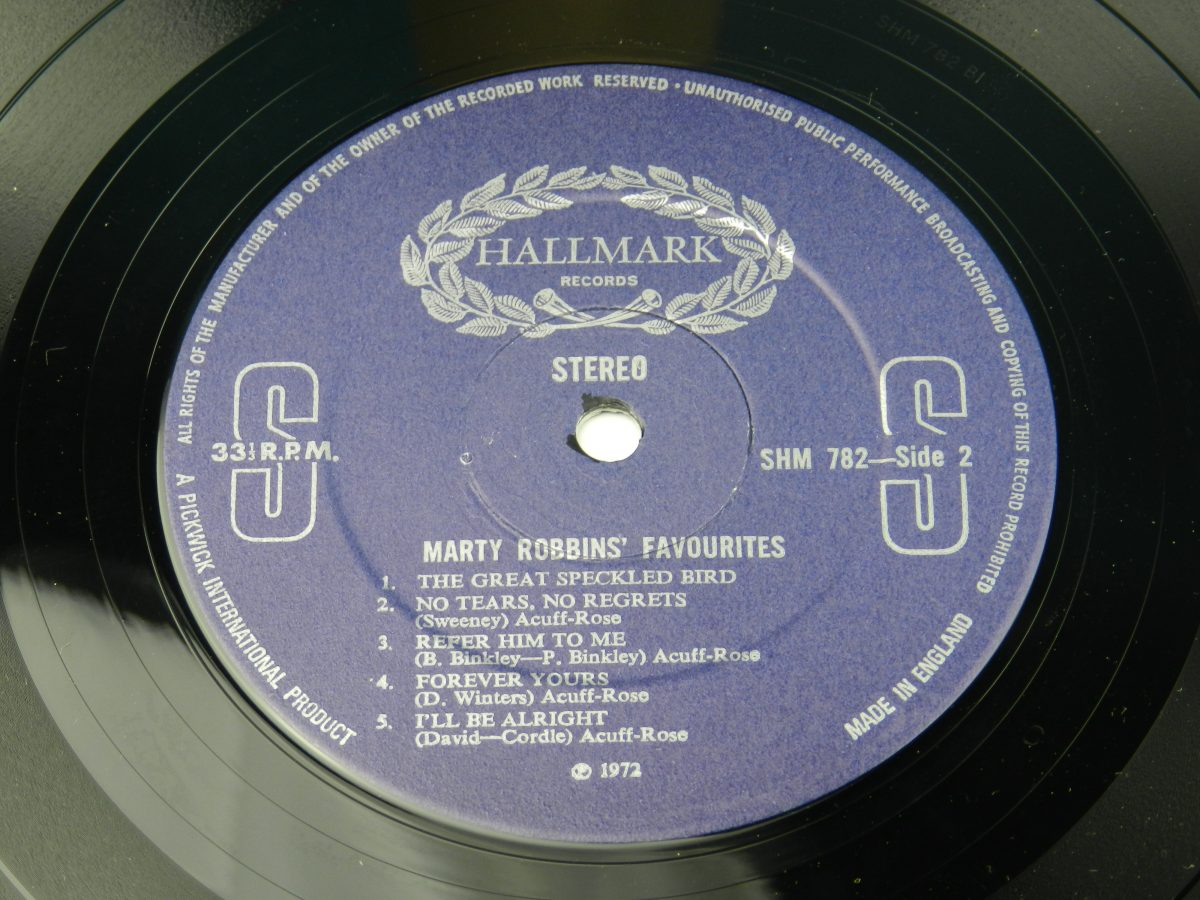 Marty Robbins – Marty Robbins Favourites vinyl record side B label scaled