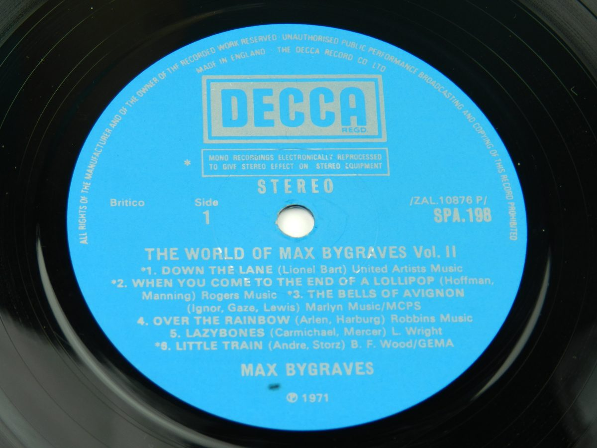 Max Bygraves – The World Of Max Bygraves Vol 2 vinyl record side A label scaled