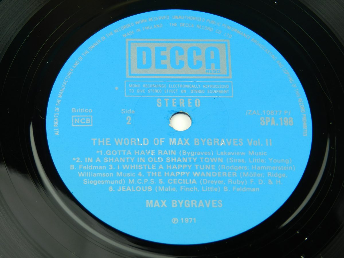 Max Bygraves – The World Of Max Bygraves Vol 2 vinyl record side B label scaled