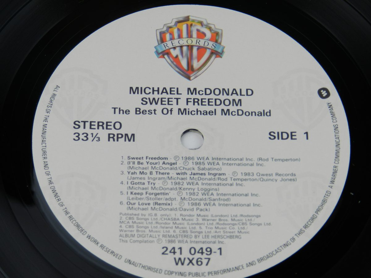 Michael McDonald – Sweet Freedom The Best Of Michael McDonald vinyl record side A label scaled