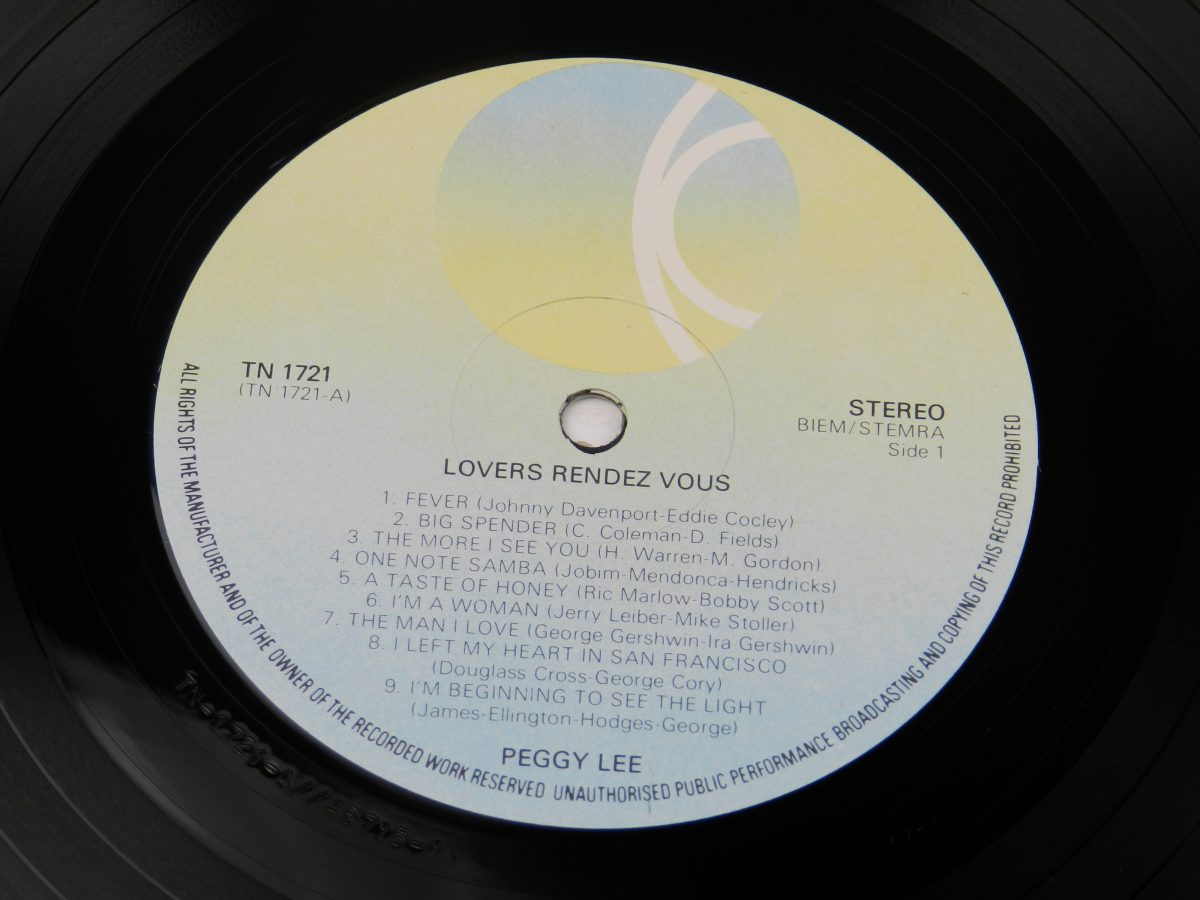 Peggy Lee – Lovers Rendez Vous vinyl record side A label scaled