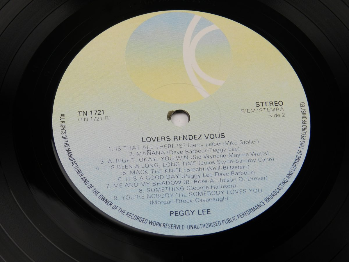 Peggy Lee – Lovers Rendez Vous vinyl record side B label scaled
